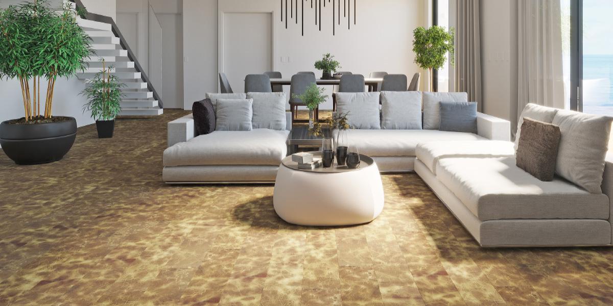 Wohnzimmer mit DURABLE II Lederboden